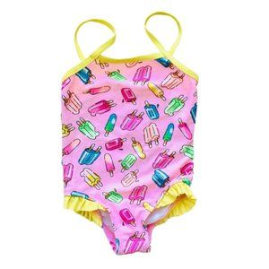 Pink Popsicle Ruffle Trim One-Piece Swimsuit